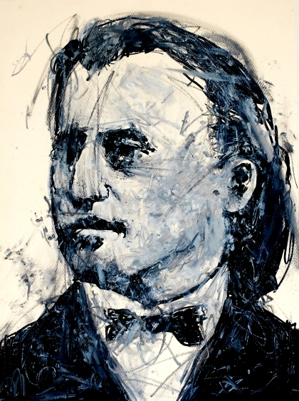 Brahms (Young). Ink and acrylic on paper. 2011