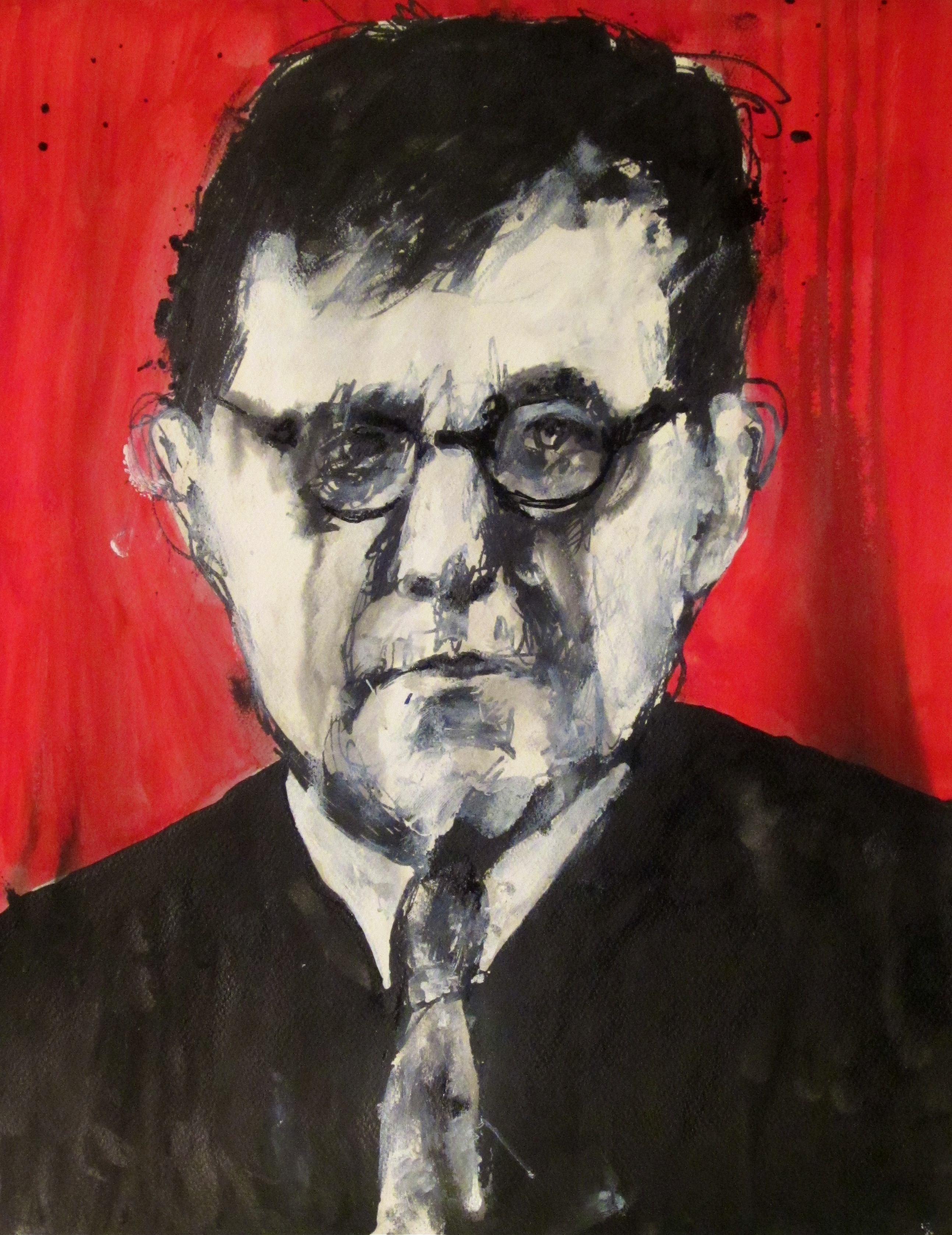 Shostakovich. Ink + acrylic on paper. 2011