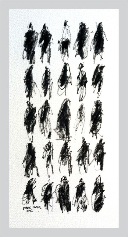 25 Pedestrians IV, 2012, ink on paper, 12 x 6 inches FOR WEB