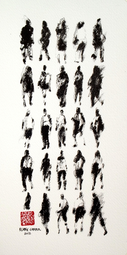 2012 - 25 Pedestrians (and Stroller), 12 x 6 inches, ink on paper - FOR WEB
