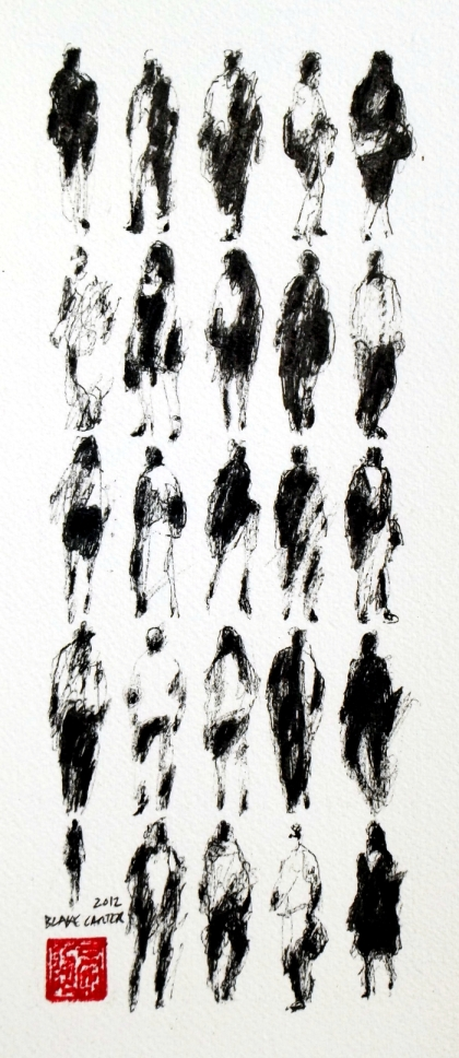 2012 - 25 Pedestrians (LACMA), 12x6 inches, ink on paper - FOR WEB