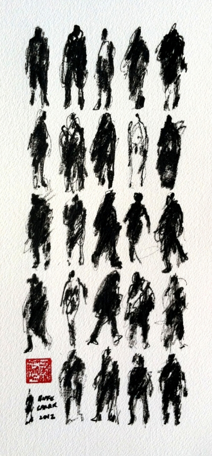 2012 - 25 Pedestrians V, 12x6 inches, ink on paper - FOR WEB