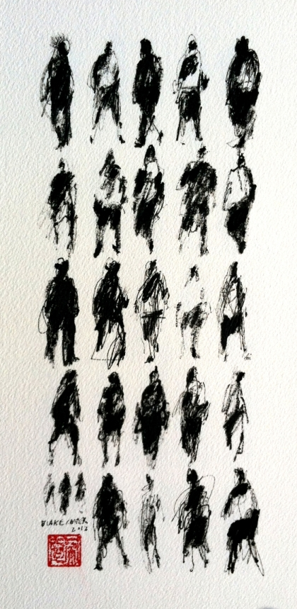 2012 - 27 Pedestrians, 12x6 inches, ink on paper - FOR WEB