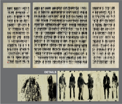 1,001 Pedestrians - Triptych Ink on wood panel, 48x80 inches total $1200