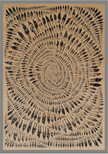 2016 - 1,974 Pedestrians (Rose), ink on wood panel, 42x60 inches