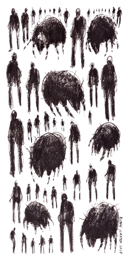 2017 - Of Mites and Men, ink on paper, 6x12 inches