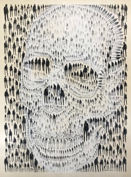 1,777 of Us (Skull), ink and acrylic on wood panel, 36x48 inches